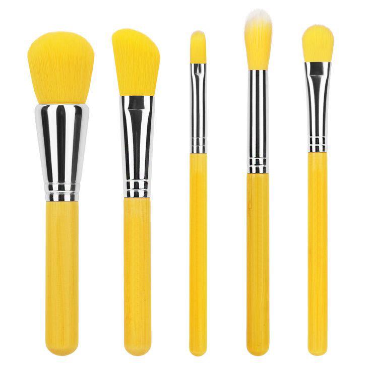 5pcs bamboo handle cosmetic brush set