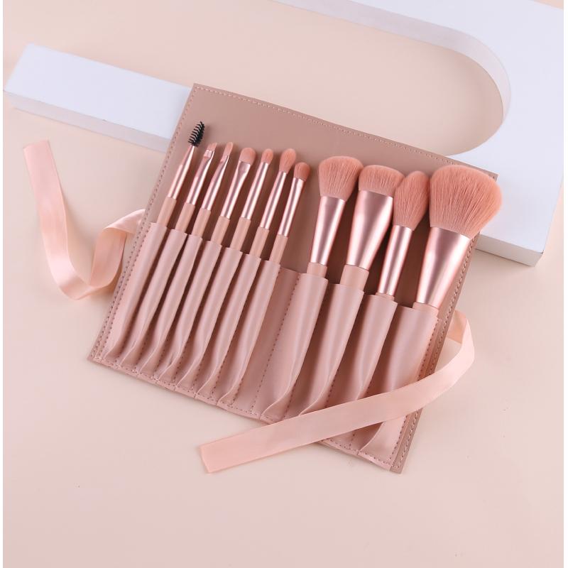 pink makeup brush set