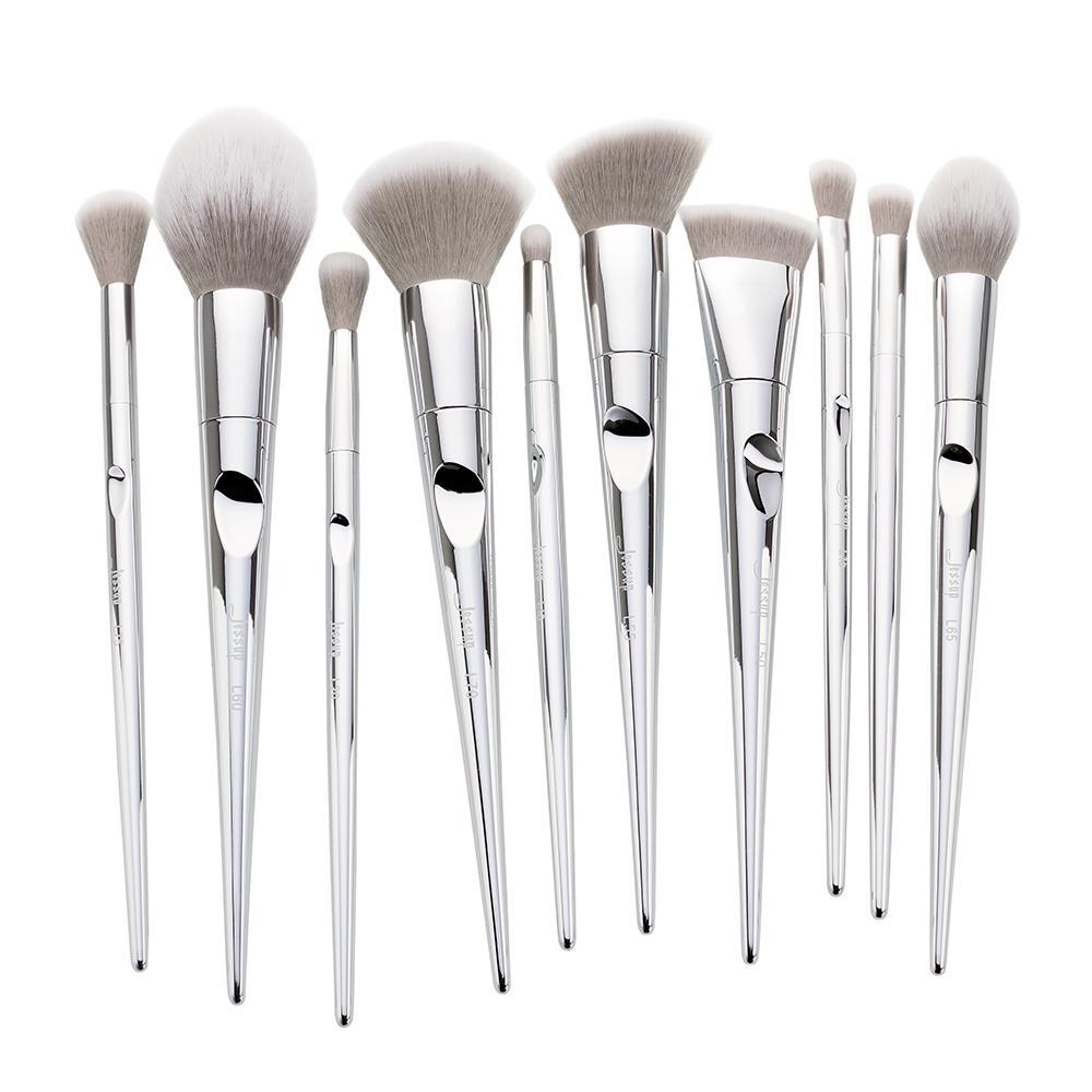 silver makeup brush set