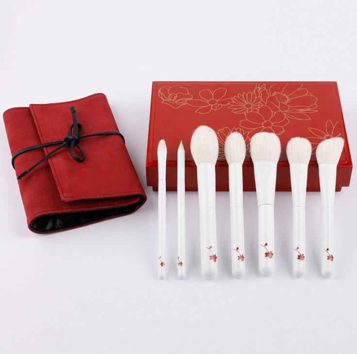 white cherry blossom brush set makeup brush kit